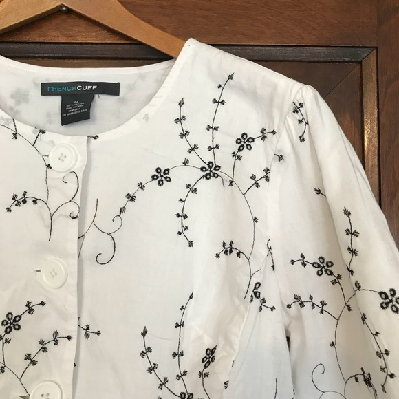 c6c192869df French Cuff Tops | Embroidered Button Front Peplum Top | Poshmark